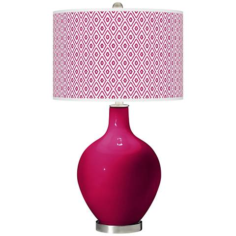 French Burgundy Diamonds Ovo Table Lamp