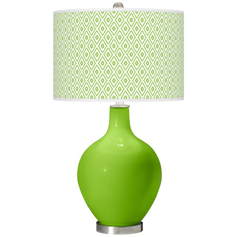 Neon Green Diamonds Ovo Table Lamp