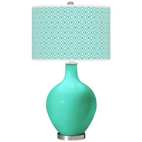 Turquoise Diamonds Ovo Table Lamp