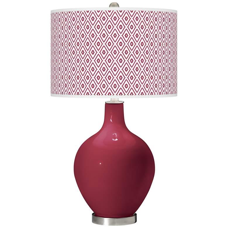 Antique Red Diamonds Ovo Table Lamp