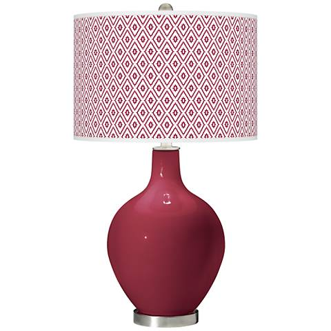 Antique Red Diamonds Ovo Table Lamp
