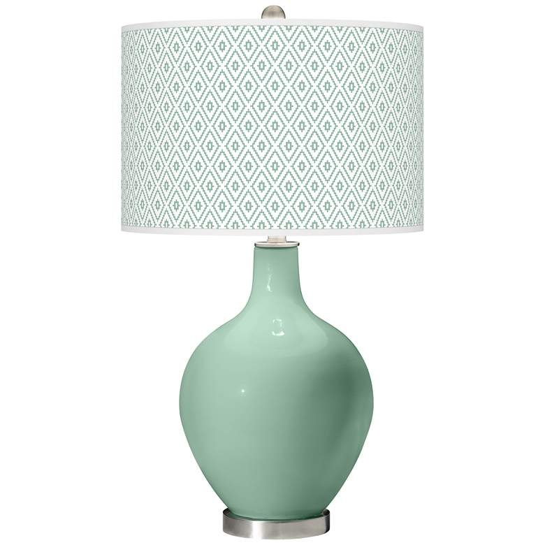 Grayed Jade Diamonds Ovo Table Lamp