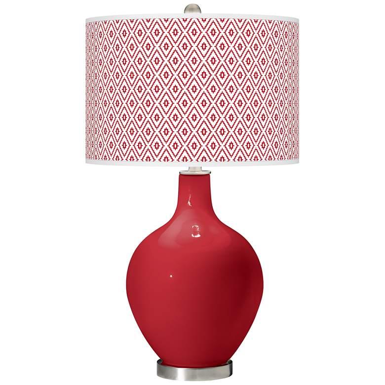 Ribbon Red Diamonds Ovo Table Lamp