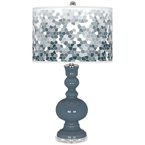 Smoky Blue Mosaic Giclee Apothecary Table Lamp