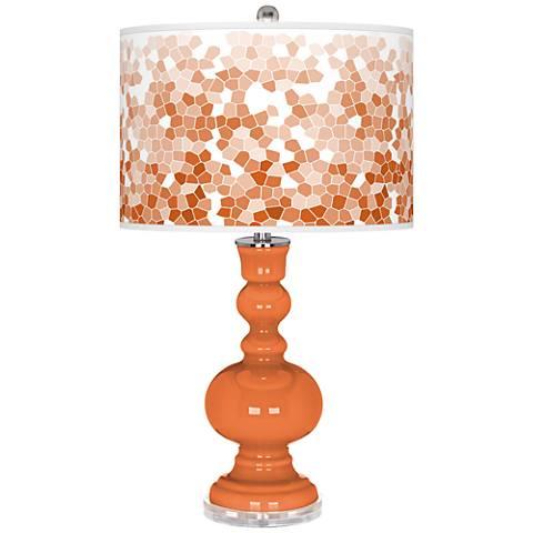 Celosia Orange Mosaic Giclee Apothecary Table Lamp