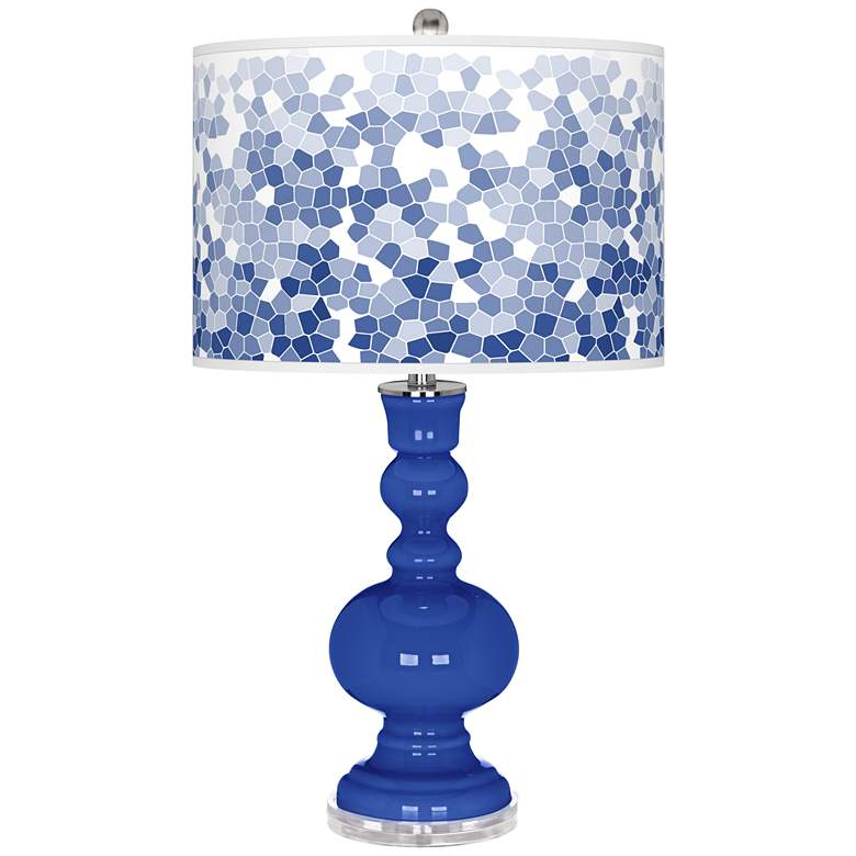 Dazzling Blue Mosaic Giclee Apothecary Table Lamp
