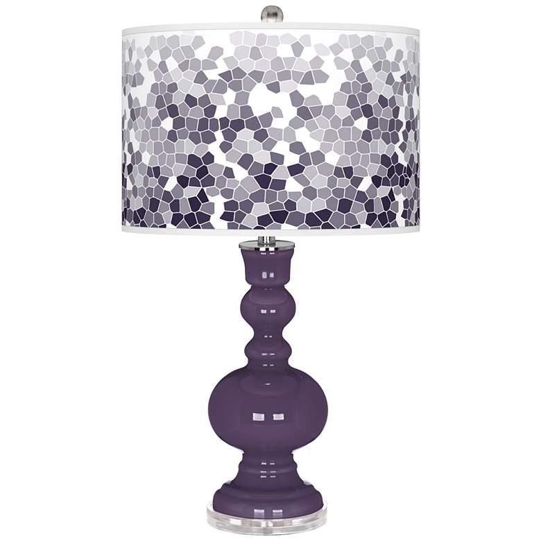 Quixotic Plum Mosaic Giclee Apothecary Table Lamp