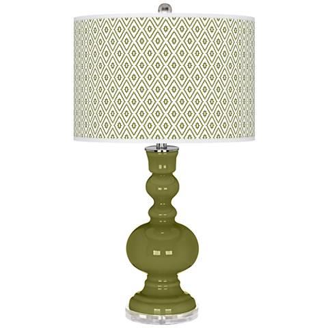 Rural Green Diamonds Apothecary Table Lamp