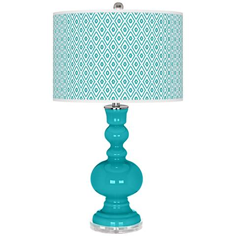 Surfer Blue Diamonds Apothecary Table Lamp