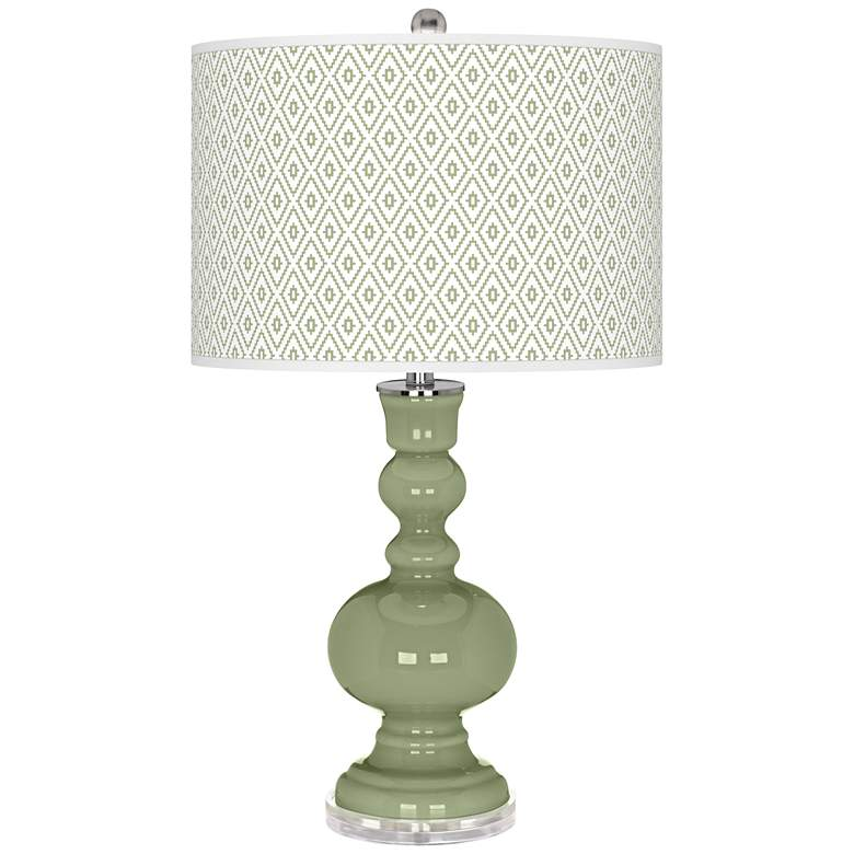 Majolica Green Diamonds Apothecary Table Lamp