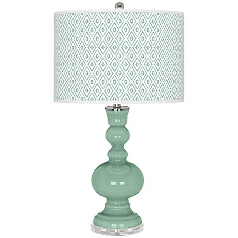 Grayed Jade Diamonds Apothecary Table Lamp
