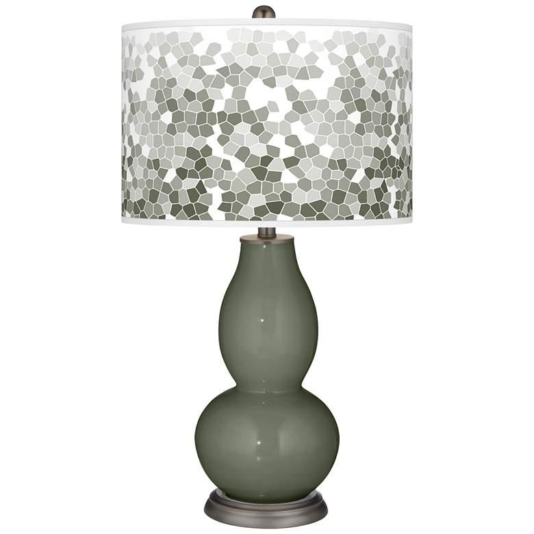 Deep Lichen Green Mosaic Giclee Double Gourd Table Lamp