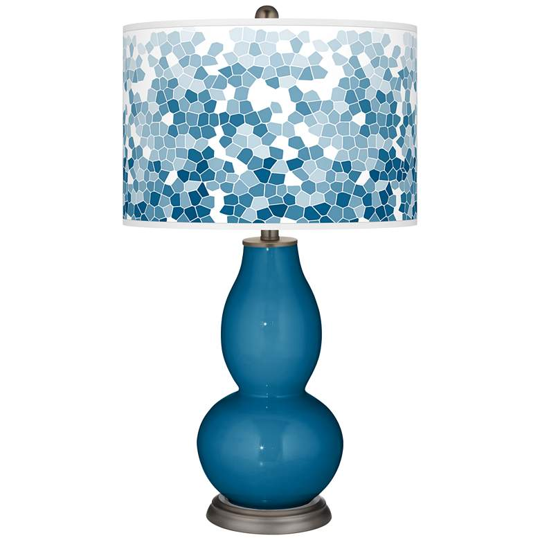 Mykonos Blue Mosaic Giclee Double Gourd Table Lamp