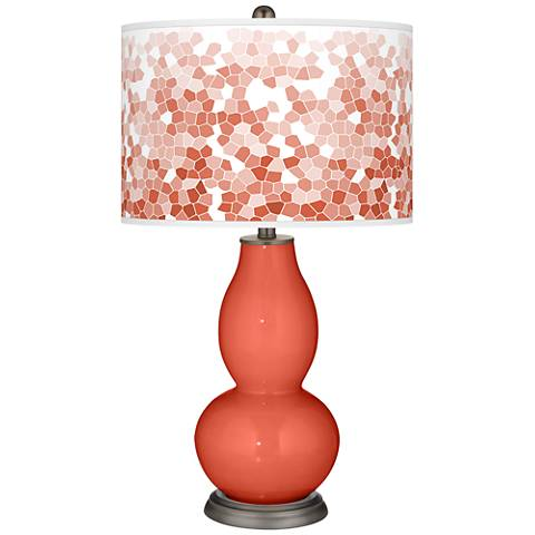 Koi Mosaic Giclee Double Gourd Table Lamp