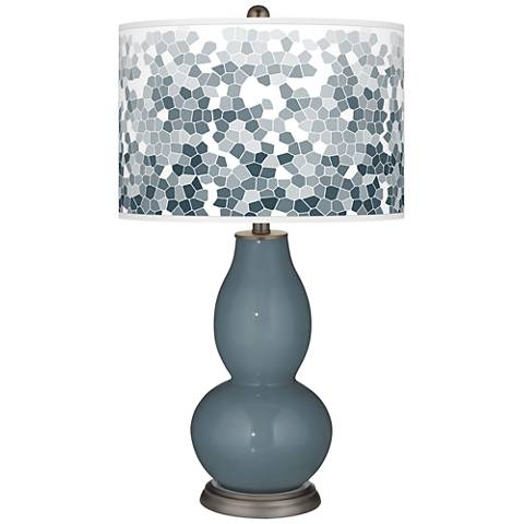 Smoky Blue Mosaic Giclee Double Gourd Table Lamp