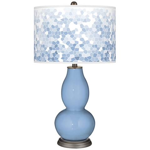 Placid Blue Mosaic Giclee Double Gourd Table Lamp