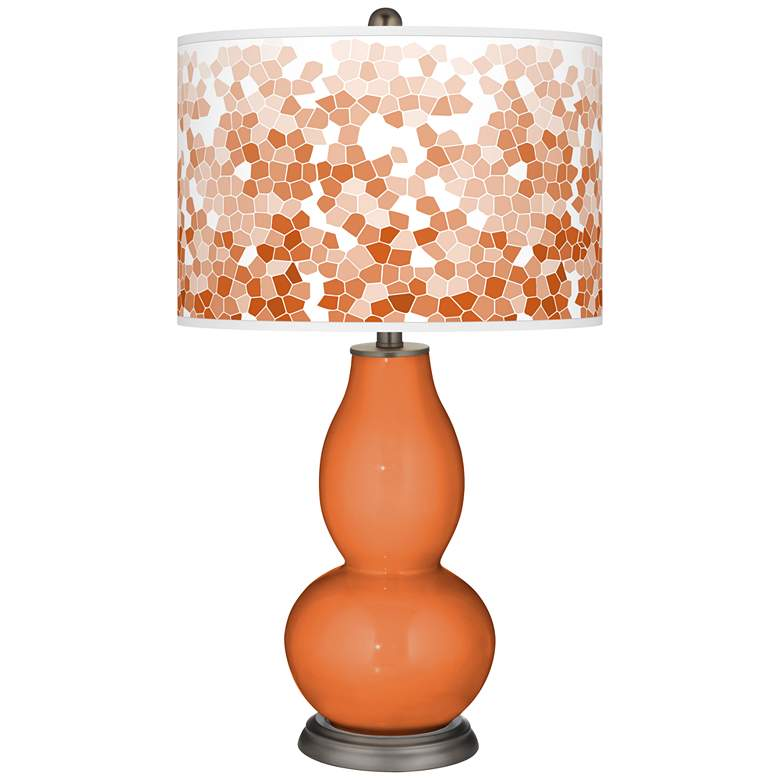 Celosia Orange Mosaic Giclee Double Gourd Table Lamp