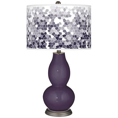 Quixotic Plum Mosaic Giclee Double Gourd Table Lamp