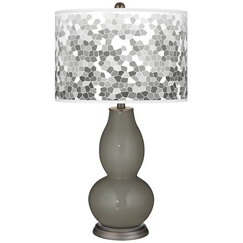 Gauntlet Gray Mosaic Giclee Double Gourd Table Lamp