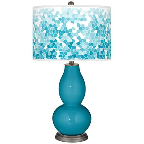 Caribbean Sea Mosaic Giclee Double Gourd Table Lamp