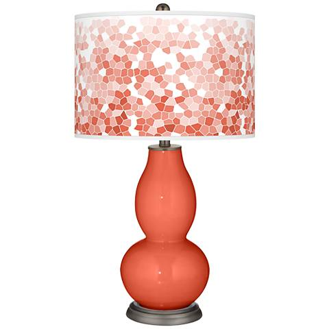 Daring Orange Mosaic Giclee Double Gourd Table Lamp