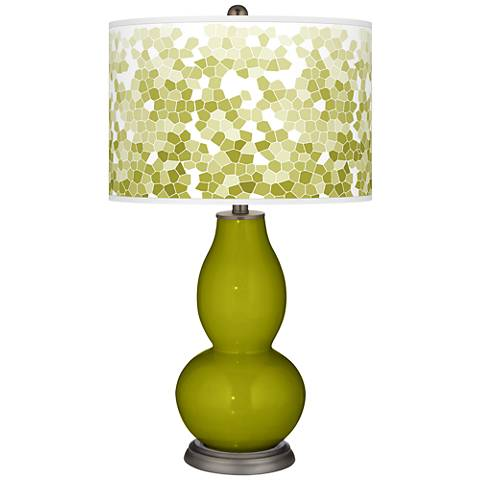 Olive Green Mosaic Giclee Double Gourd Table Lamp