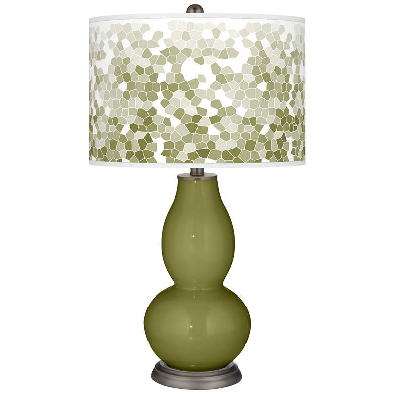 Rural Green Mosaic Giclee Double Gourd Table Lamp