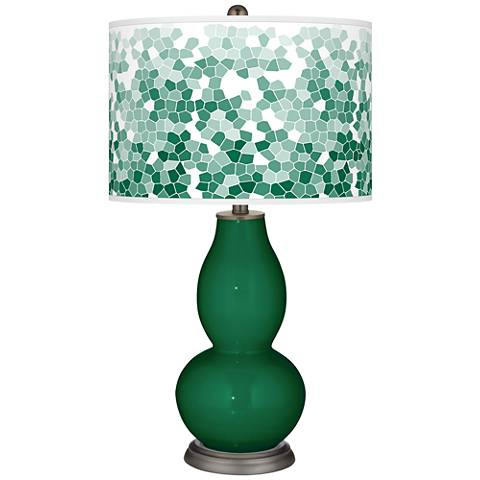 Greens Mosaic Giclee Double Gourd Table Lamp