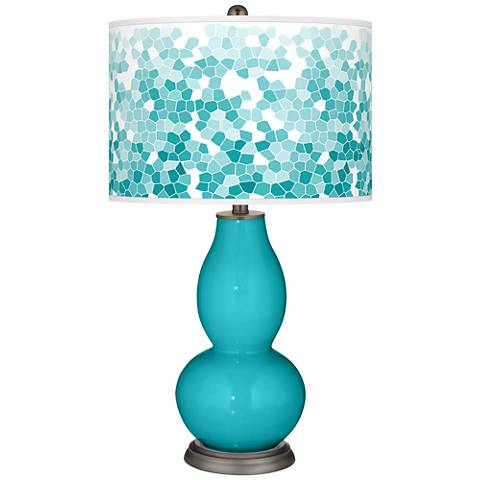 Surfer Blue Mosaic Giclee Double Gourd Table Lamp
