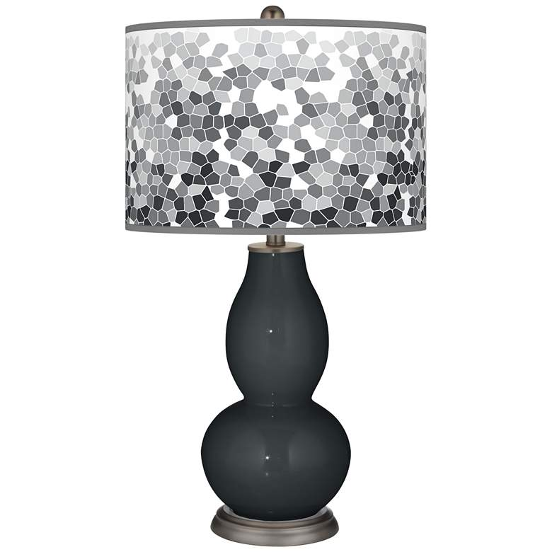 Black of Night Mosaic Giclee Double Gourd Table Lamp