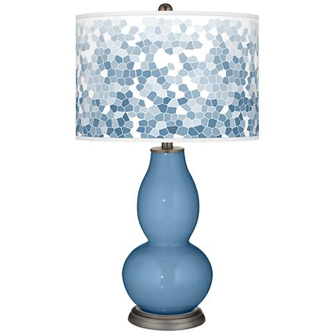 Secure Blue Mosaic Giclee Double Gourd Table Lamp