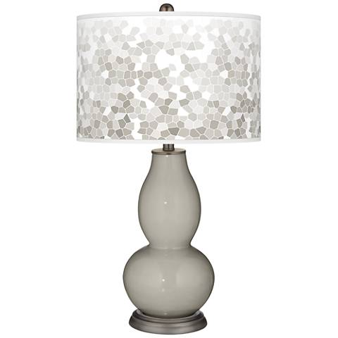 Requisite Gray Mosaic Giclee Double Gourd Table Lamp