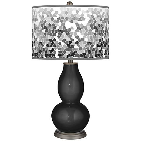Tricorn Black Mosaic Giclee Double Gourd Table Lamp