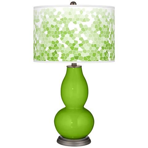 Neon Green Mosaic Giclee Double Gourd Table Lamp