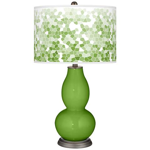 Rosemary Green Mosaic Giclee Double Gourd Table Lamp