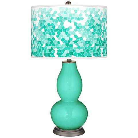 Turquoise Mosaic Giclee Double Gourd Table Lamp