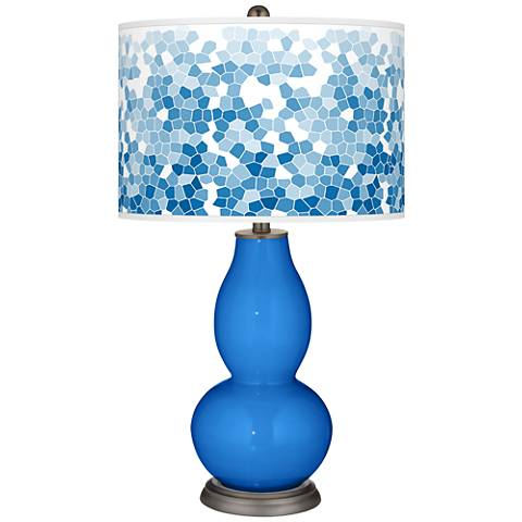 Royal Blue Mosaic Giclee Double Gourd Table Lamp