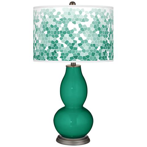 Emerald Mosaic Giclee Double Gourd Table Lamp