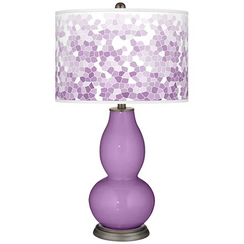 African Violet Mosaic Giclee Double Gourd Table Lamp
