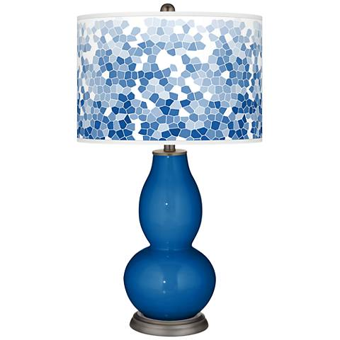 Hyper Blue Mosaic Giclee Double Gourd Table Lamp