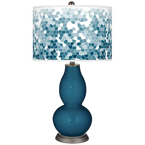 Oceanside Mosaic Giclee Double Gourd Table Lamp