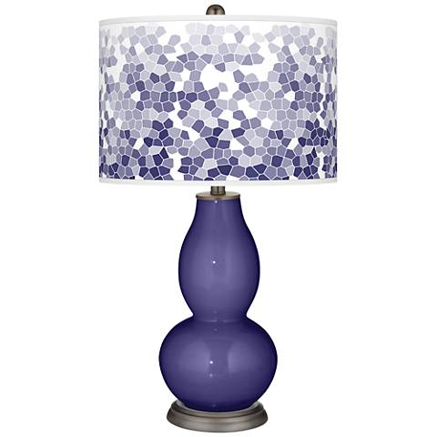 Valiant Violet Mosaic Giclee Double Gourd Table Lamp