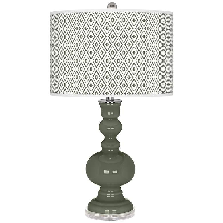 Deep Lichen Green Diamonds Apothecary Table Lamp