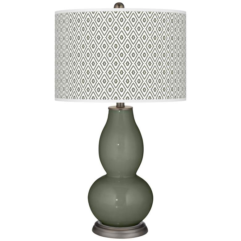 Deep Lichen Green Diamonds Double Gourd Table Lamp