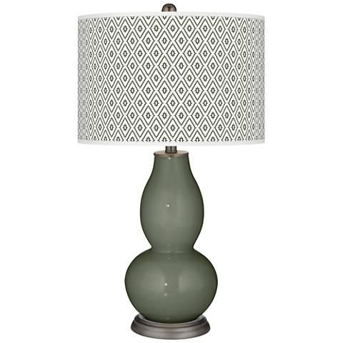 Deep Lichen Green Diamonds Double Gourd Table Lamp