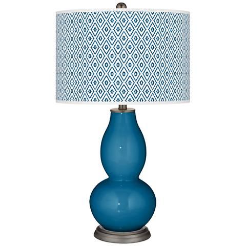 Mykonos Blue Diamonds Double Gourd Table Lamp