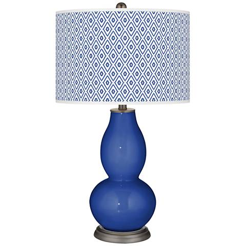 Dazzling Blue Diamonds Double Gourd Table Lamp