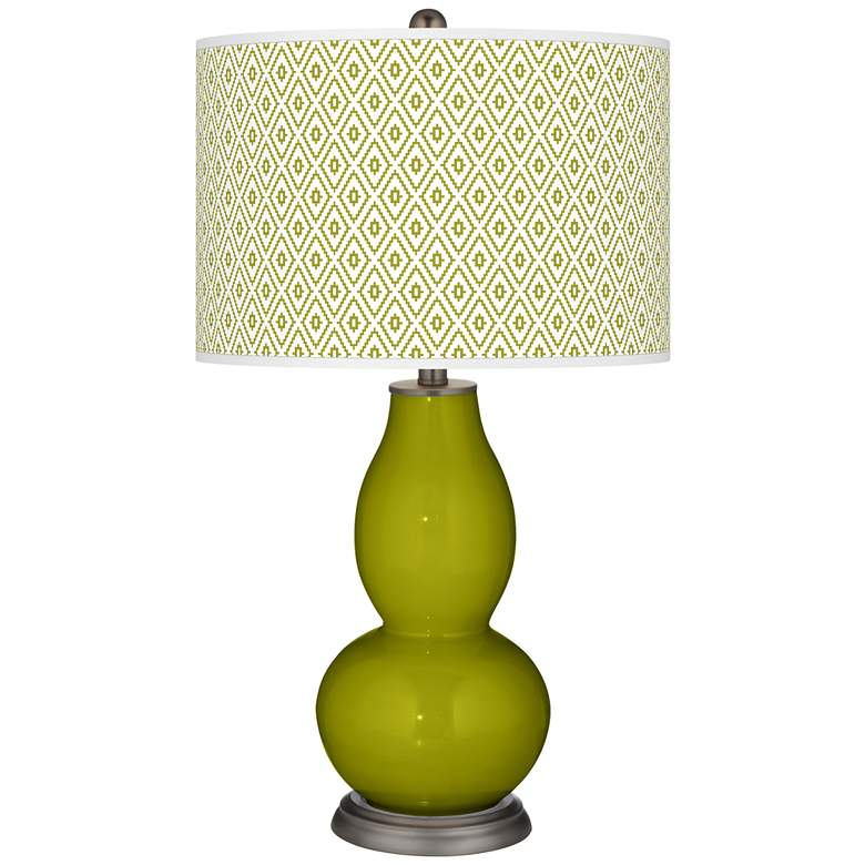 Olive Green Diamonds Double Gourd Table Lamp