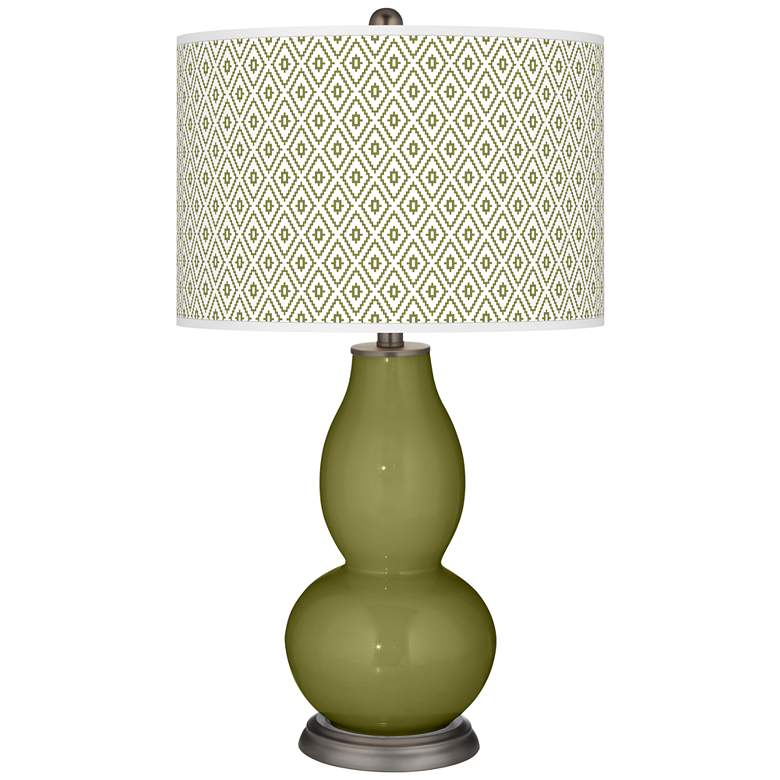 Rural Green Diamonds Double Gourd Table Lamp