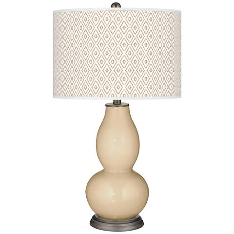 Colonial Tan Diamonds Double Gourd Table Lamp